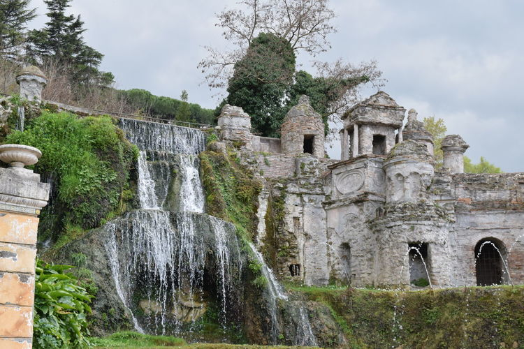 Abandoned Ancient Arch Architecture Building Exterior Built Structure Castle Cloud - Sky Damaged Day History Low Angle View Old Old Ruin Outdoors Sky Stone Wall The Past Tree Villa Villa D'Este Water Fall Weathered
