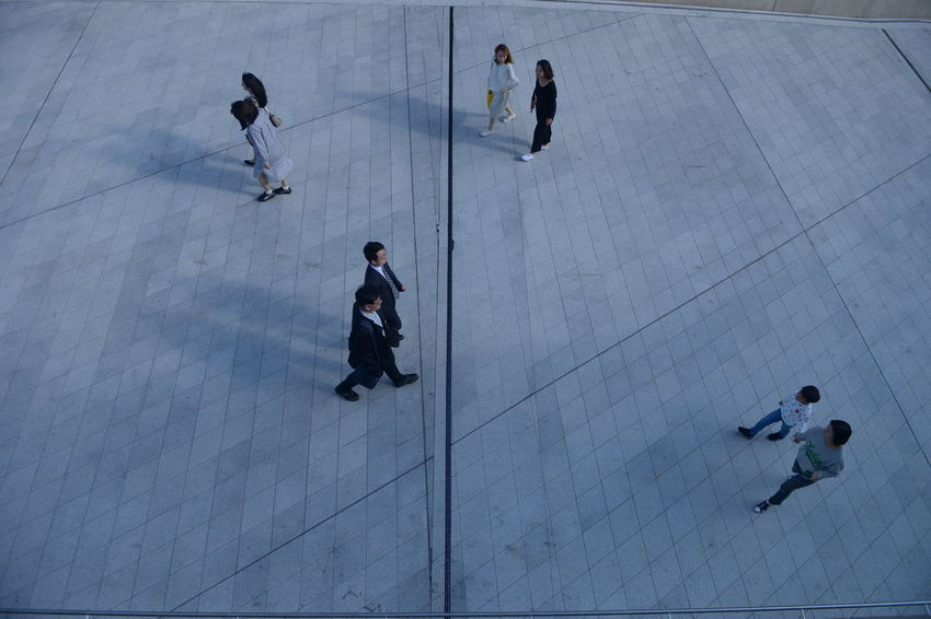 Group Of People Men High Angle View Full Length Women Business Person Males  Walking Adult Motion Architecture People Day on the move Business City Businessman Females Businesswoman Coworker Outdoors Modern
