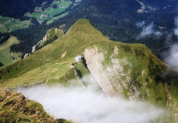 High angle view of scenic mountain