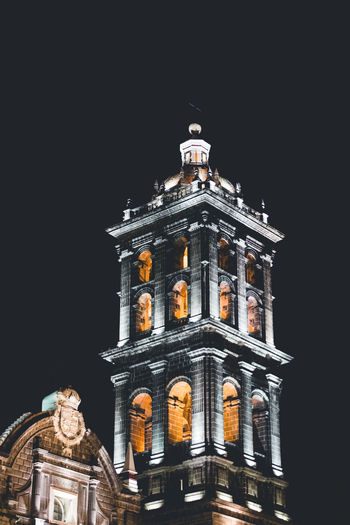 Tonight. Architecture Black Background Building Exterior Built Structure Clear Sky Copy Space Illuminated Low Angle View Night No People Outdoors Place Of Worship Sky