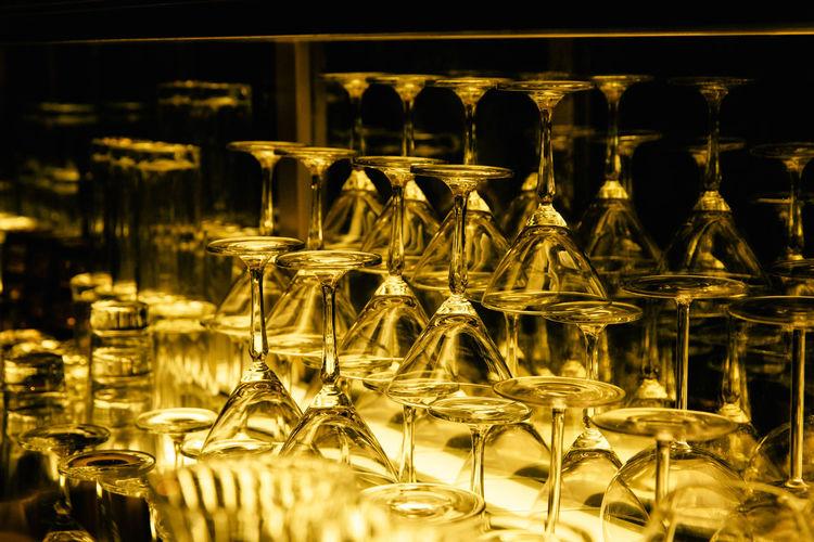 Glass of wine bottles