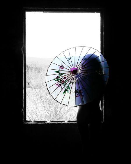 Oldie But Goodie At The Window From Behind Parasol Color Splash Pastel Power