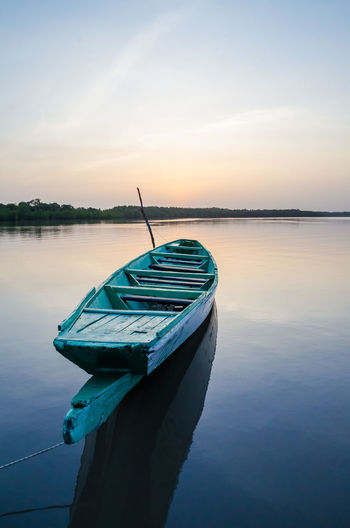 Boat River Gambia River Water Dusk Blue Hour Gambia, Africa Gambia  Africa African Wooden Simple Tranquil Scene Tranquility