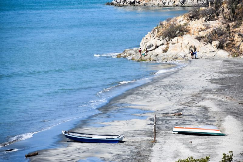 Boats Moored At Sea Shore