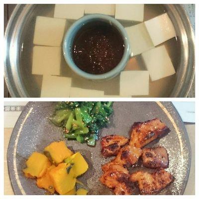 今日の我が家の晩御飯シリーズ 湯豆腐 生姜醤油 豚バラ肉の味噌焼き カボチャ 小松菜のごま和え