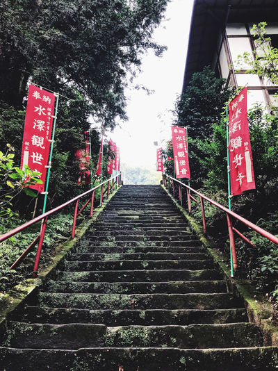 Staircase leading to railing against trees