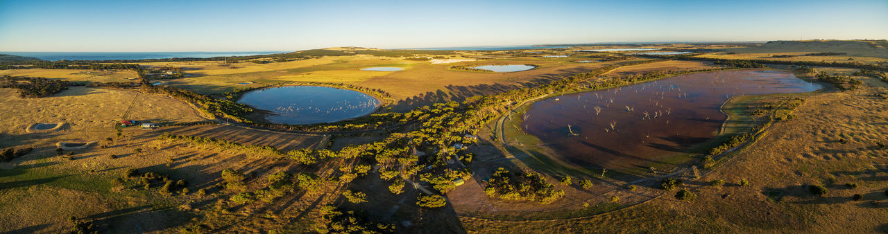 Aerial panorama of Discovery Lagoon swamp at sunset. Kangaroo Island, South Australia Aerial View Day Desert Landscape Molten Nature No People Outdoors Scenics