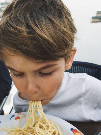 Full Mouth Full Eating Spaghetti Boy Children Kids Yummy