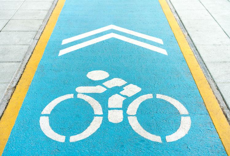 High angle view of bicycle lane
