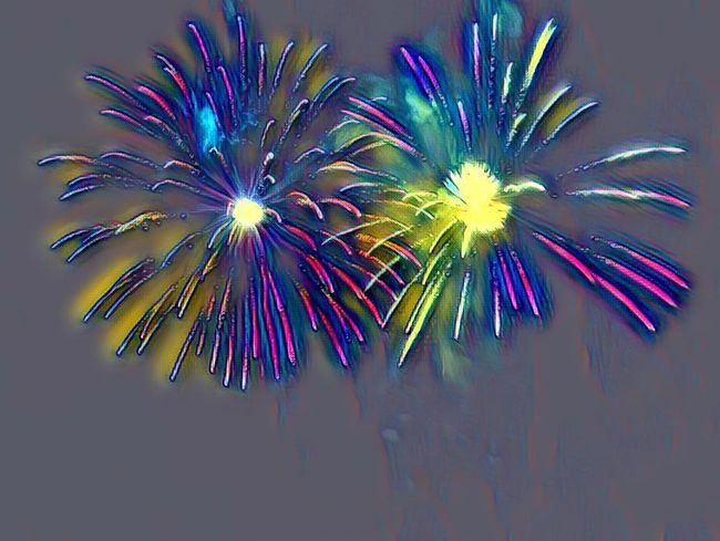 Neon effect. Photomontage. Fireworks. 14 juillet.