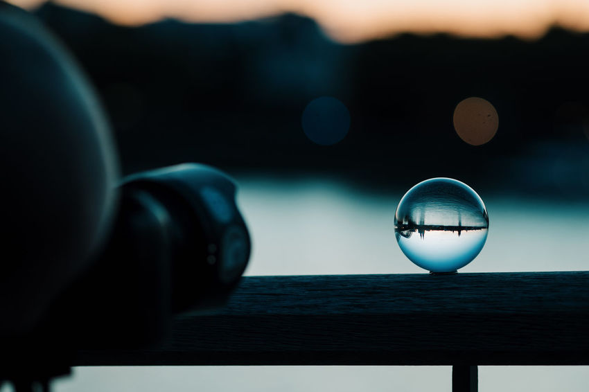WAITING FOR SUNSET 🌇 Circle Close-up Crystal Ball Day Focus On Foreground Geometric Shape Glass Glass - Material Nature No People Outdoors Reflection Sea Selective Focus Shape Single Object Sky Sphere Transparent Water