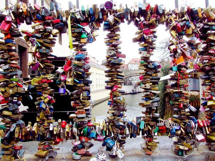 Happy New Year 2016! Love Locks Love Locks Bridge Bridge Canal Prague Praha Certovka Fence Colour Of Life