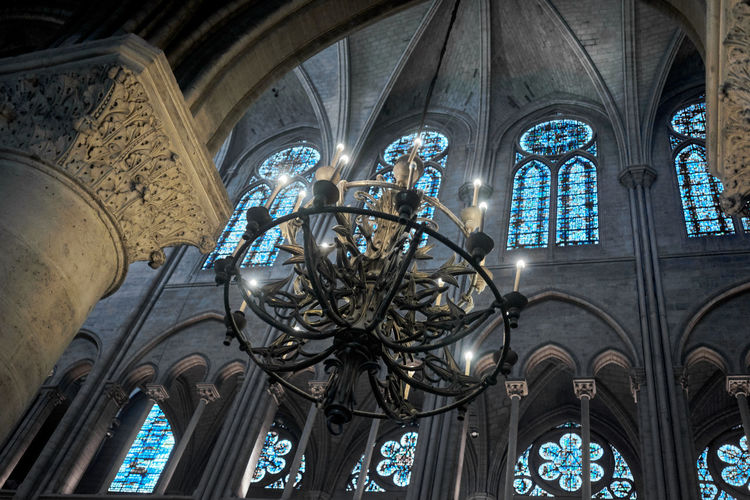 Place Of Worship Low Angle View Built Structure Religion Belief Spirituality Architecture Glass Building Stained Glass Indoors  No People Glass - Material Window Lighting Equipment Art And Craft Ceiling Ornate Chandelier Notre Dame De Paris Notre-Dame Mosaic Mosaic Window