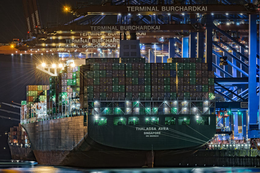THLASSA AVRA Container Container Terminal Container Terminal Burchardkai Containerbridge Containership Engineering Glowing Hamburg Harbour Illuminated Multi Colored Night Night Photography No People Outdoors Sky
