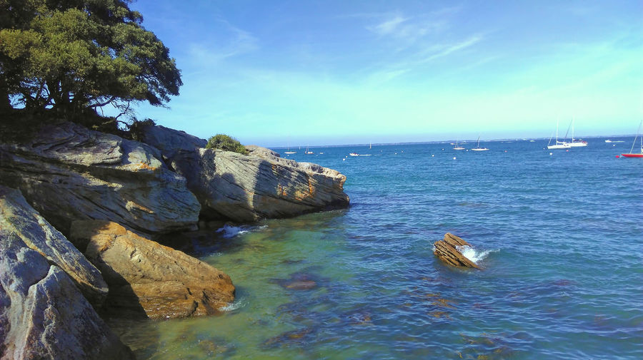 Beauty In Nature Blue Day Horizon Over Water Nature Nautical Vessel No People Outdoors Plage Des Dames Rock - Object Scenics Sea Sky Tranquil Scene Tranquility Water île île De Noirmoutier