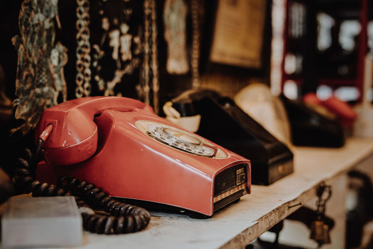 Old-fashioned Arts Culture And Entertainment Business Finance And Industry Retro Styled Table Antique Close-up Telephone Receiver Rotary Phone Gramophone Telephone Booth