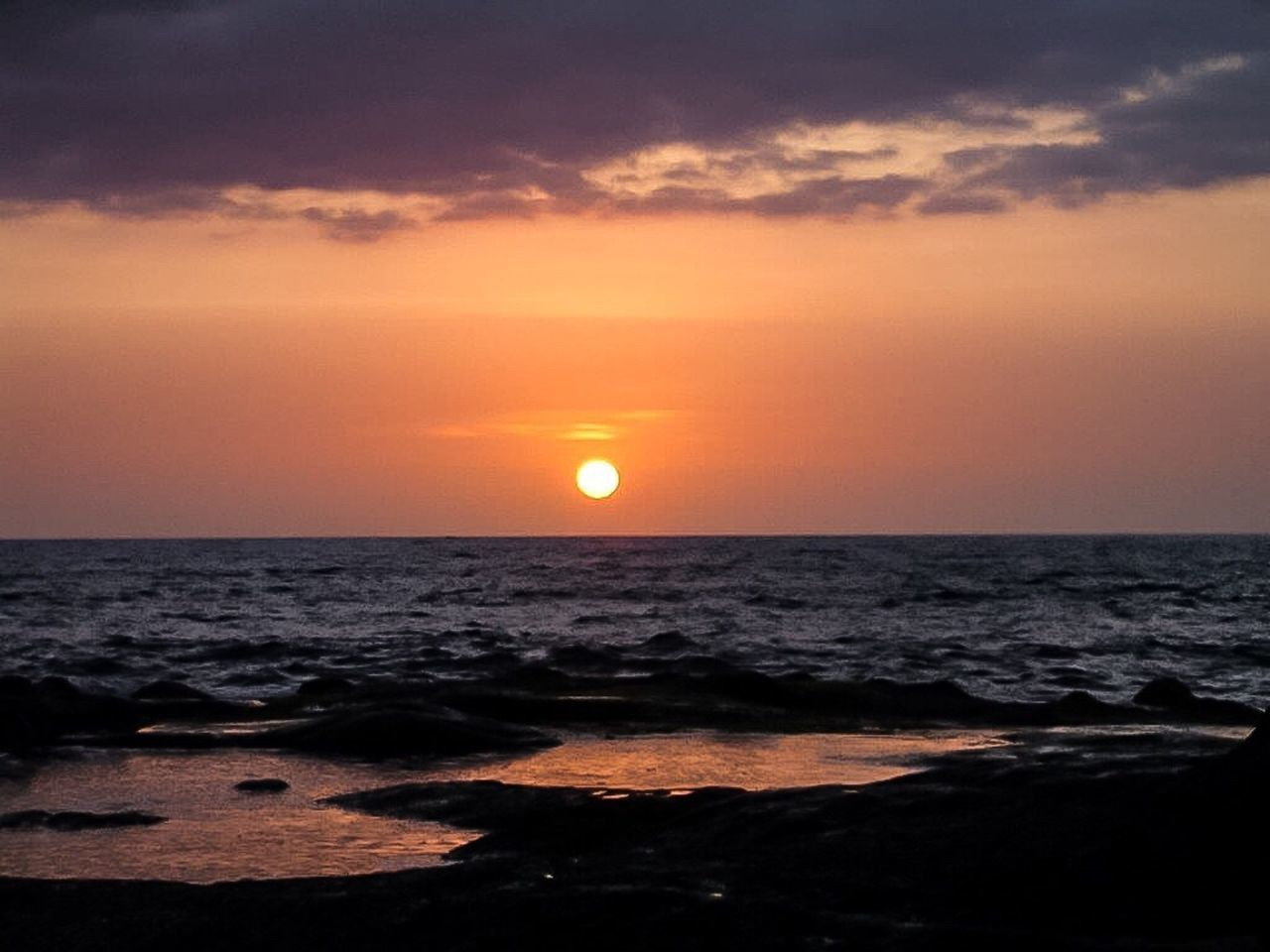sunset, sea, sun, beauty in nature, scenics, horizon over water, orange color, sky, nature, tranquil scene, tranquility, idyllic, water, horizon, no people, outdoors, beach, cloud - sky