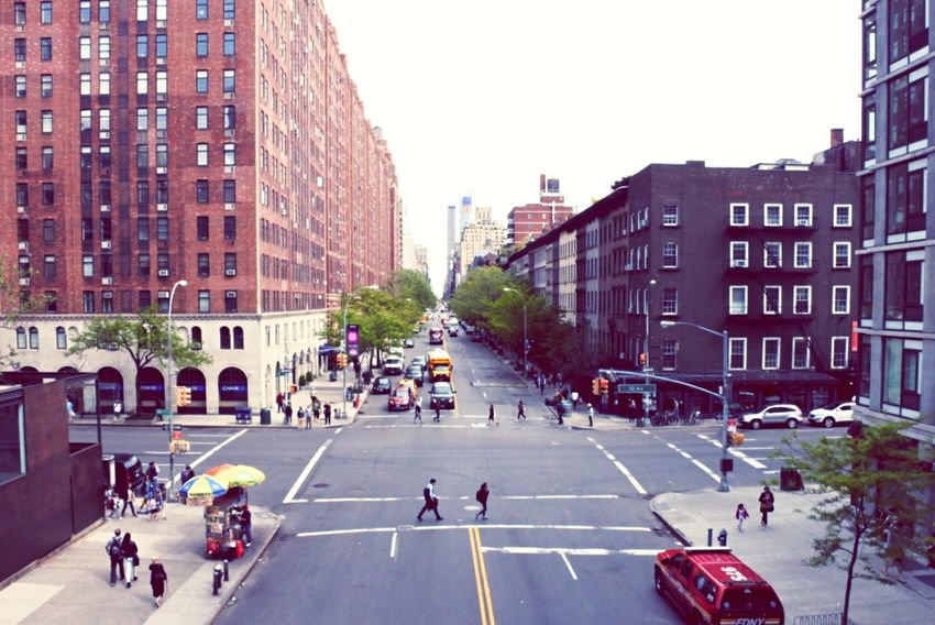 View down the street. Street New York HighLineParkNYC Business Streetlife Manhattan Crosswalk Traffic Lights