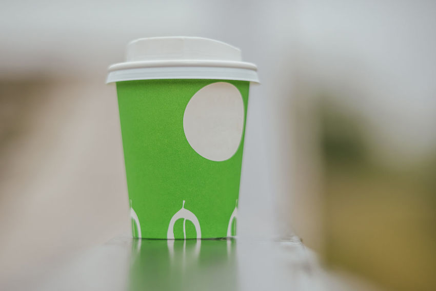 Coffee Cup Green Close-up Coffee Cup Day Drink Focus On Foreground Freshness Green Color No People Selective Focus Take Away Take Away Coffee Take Away Cups
