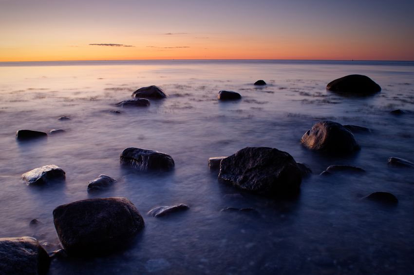 Summer night on the beach of Hohenfelde near Kiel, Baltic Sea, on July 2, 2018. Photograph © Kay-Christian Heine Balticsea Nightphotography Schleswig-Holstein Silhouette Sunset_collection Beach Beauty In Nature Boulders Dusk Horizon Horizon Over Water Motion Motion Blurred Nature No People Rocks And Water Scenics - Nature Sea Seascape Sky Sunset Time Exposure Tranquil Scene Tranquility Water