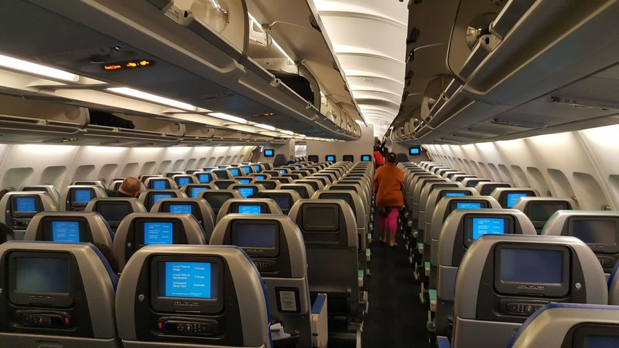 Interior of airplane with seats