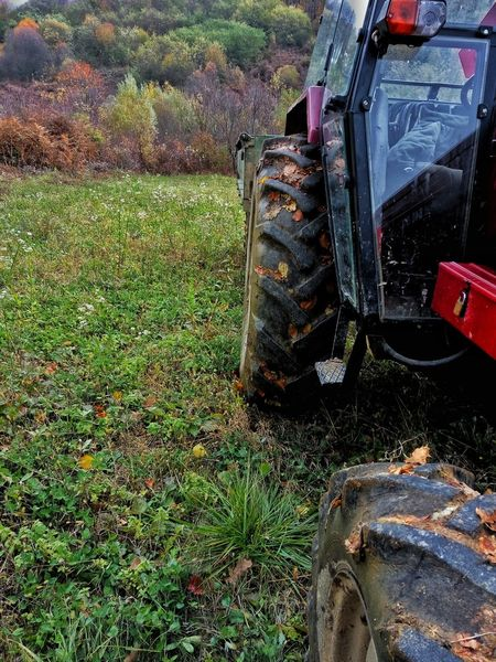 Grass Outdoors Land Vehicle Day Nature No People Tractor Red Tractor Universal Follow4follow Followme Focus Focus On Foreground Vehicle Landscape Field Woods EyeEm Best Shots Autumn Wood Picoftheday Dramatic Sky Photography Beauty In Nature