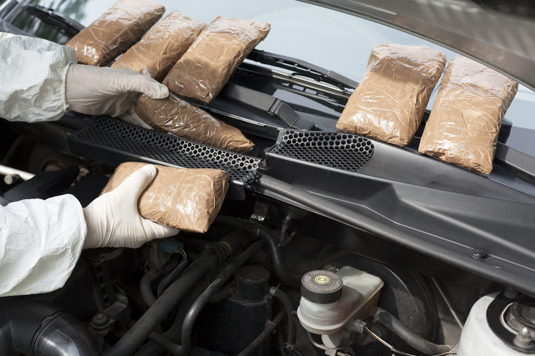 Cropped hands of person repairing car engine