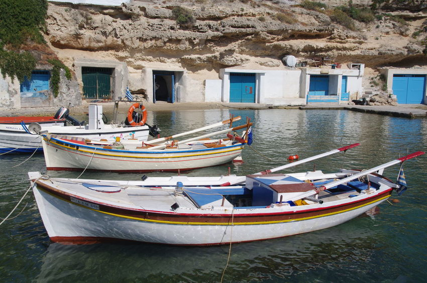 Griechenland Griechische Inseln Milos Island Architecture Boat Building Exterior Built Structure Day Greece Mode Of Transport Moored Nature Nautical Vessel No People Outdoors Transportation Water Window
