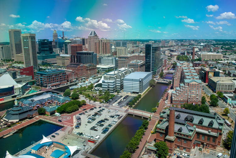 Baltimore Little Italy / Baltimore Aerial View City City Life Cityscape Day High Angle View Rainbow Sky