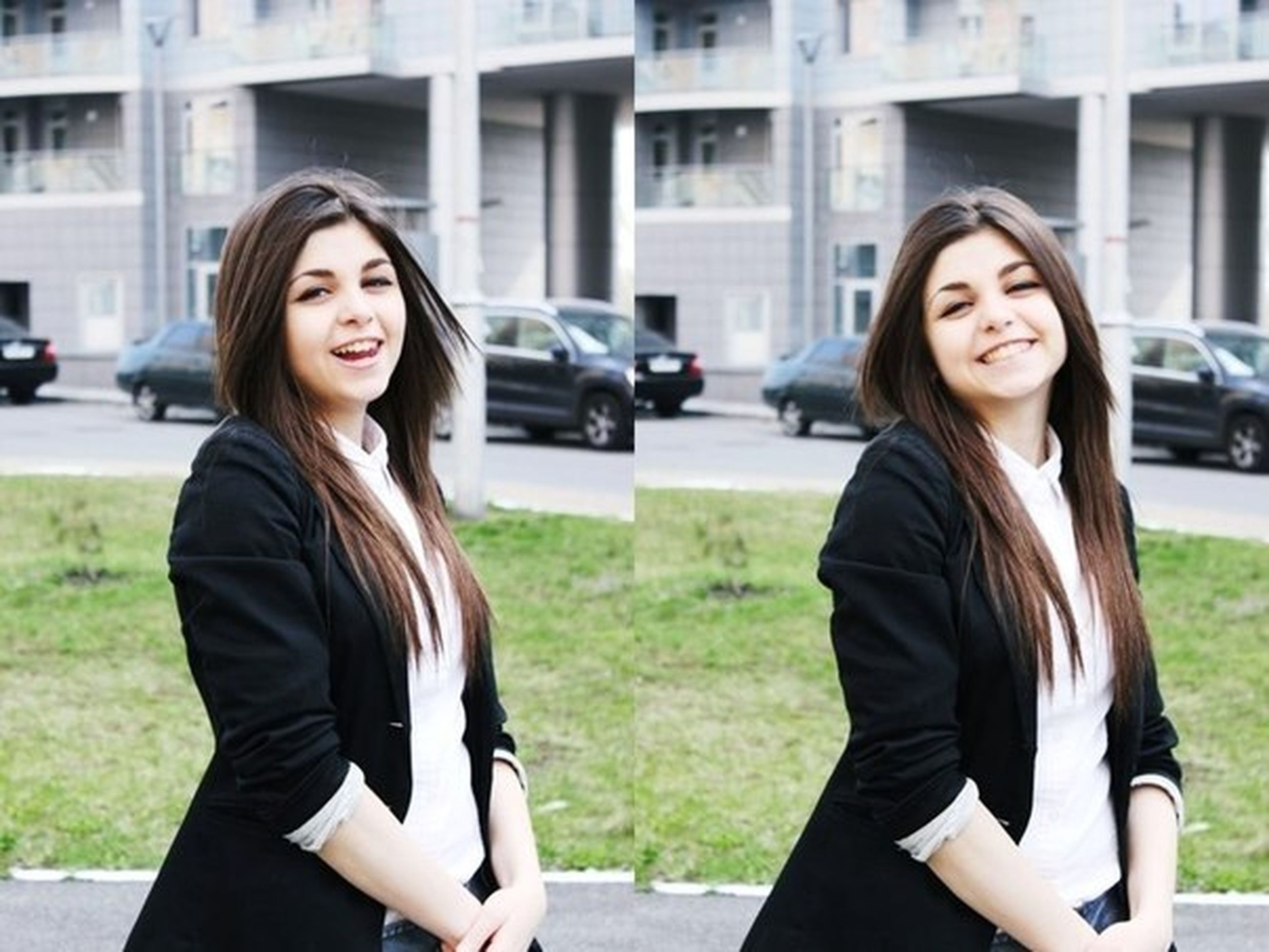 young adult, young women, focus on foreground, lifestyles, person, portrait, looking at camera, smiling, casual clothing, long hair, leisure activity, front view, standing, waist up, happiness, building exterior, medium-length hair
