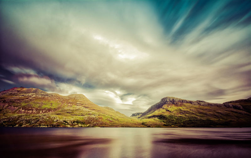 Long exposure shot of Loch Maree in the Highlands of Scotland Blue Sky Blurred Motion Day Highlands Loch  Long Exposure Mountain Outdoors Reflection Scenery Scenics Scotland Sky Smooth Water Wide Angle