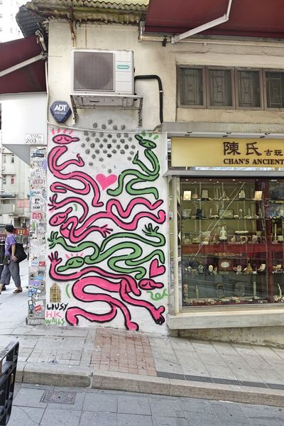 HongKong City Multi Colored Store Street Art Graffiti Architecture Building Exterior Built Structure