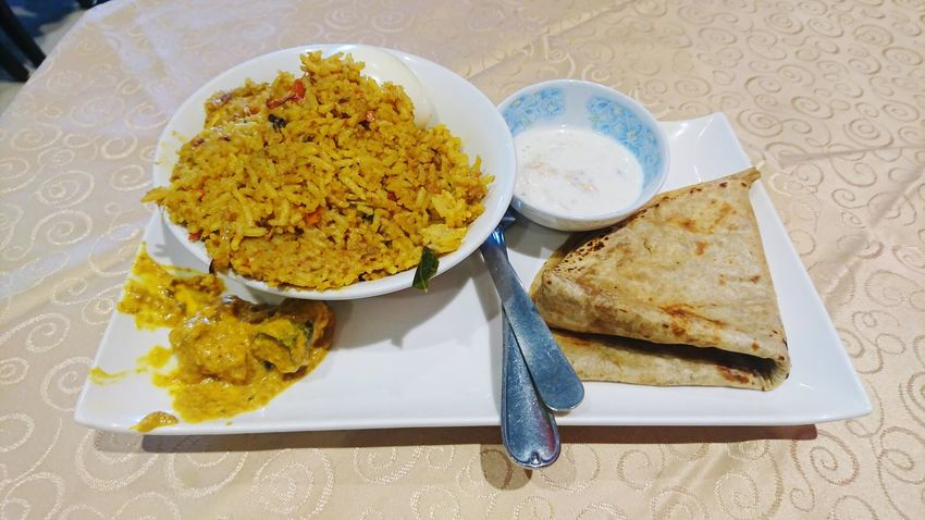 Egg Biryani and Chapati Egg Biryani Chapati Biryani Plate Cultures Spice Close-up Food And Drink Indian Food Prepared Food Rice - Food Staple Fried Rice