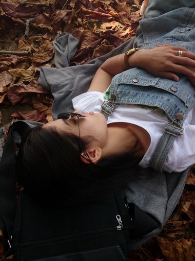 High angle view of woman napping on dry fallen leaves at park