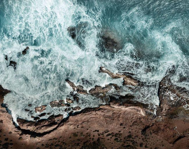 Panoramic shot of rocks on sea shore