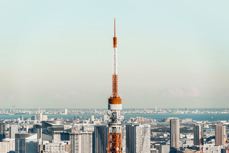 Architecture Bird Eye View Bright Business City Cityscape Financial District  Japan Modern Architecture Panorama Panoramic View Skyline Tokyo Tower Background Blue Sky Corporate Construction Famous Travel Attraction Landmark Mori Property Real Estate Roppongi Hills Skyscraper Sun Light Urban