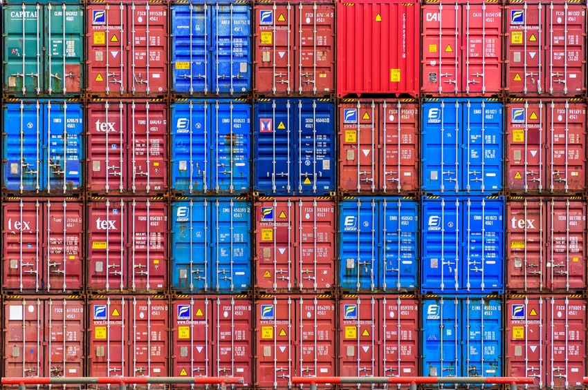 Containers in the Rotterdam Harbour Container Container Ship Container Port Harbor Harbour Red Rotterdam Rotterdam Harbor Rotterdam Haven Rotterdam, Netherlands Backgrounds Blue Business Cargo Container Commercial Dock Container Container Terminal Containers Distribution Warehouse Freight Transportation Geometry Multi Colored No People Retail  Stack