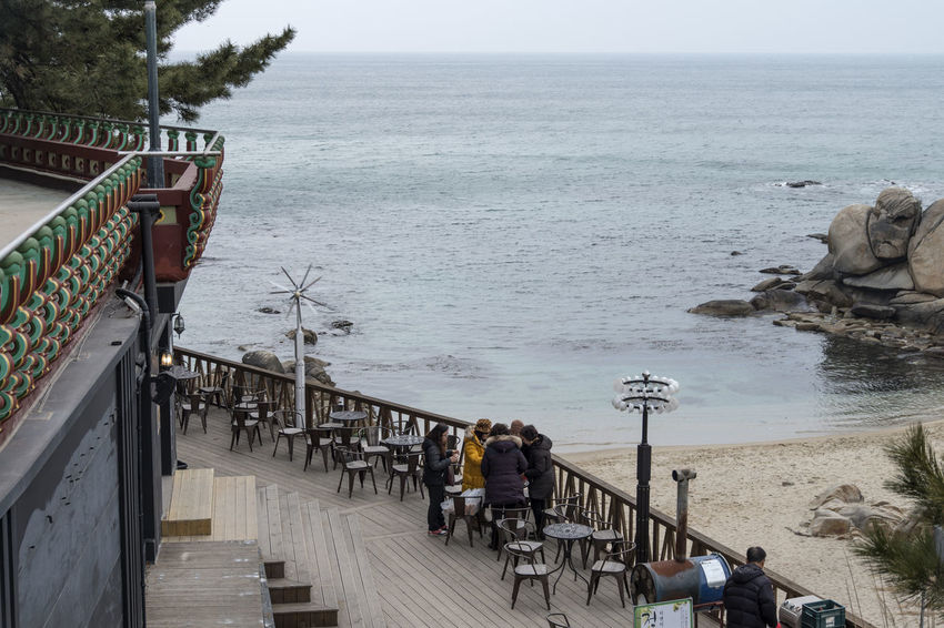 Huehueam which is Buddhism temple at Yangyang, Gangwondo, South Korea Adult Adults Only Beach Beauty In Nature Buddhism Day Horizon Over Water Huehueam Large Group Of People Men Nature Outdoors People Railing Real People Religion Sea Sky Temple Water