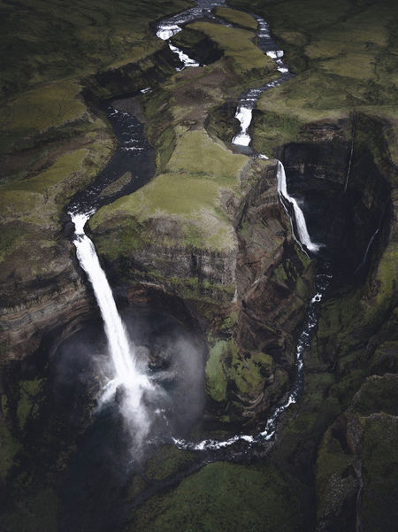 Iceland Beauty In Nature Day Environment Flowing Flowing Water High Angle View Háifoss Land Landscape Long Exposure Motion Nature No People Non-urban Scene Outdoors Power In Nature Rock Scenics - Nature Tree Water Waterfall