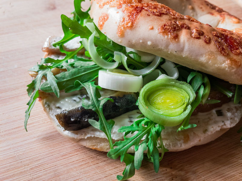 Bagel Close-up Fish Food Freshness Healthy Eating Indoors  Mackrel No People Sandwich Spring Onion Table Wild Rocket