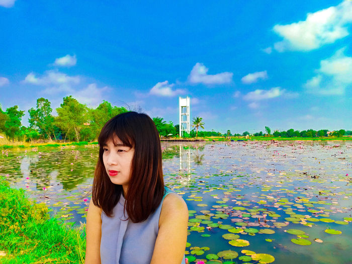 Lotus pond Thailand Ayutthaya   Thailand Water Portrait Women Tree Beautiful Woman Beauty Young Women Business Finance And Industry Long Hair Sky Introspection Day Dreaming Eyelid Thoughtful Office Building Posing Standing Water Blooming Boredom Waterfront Reflection Lake Pensive Countryside Hand On Chin Uncertainty  Lakeshore Moored