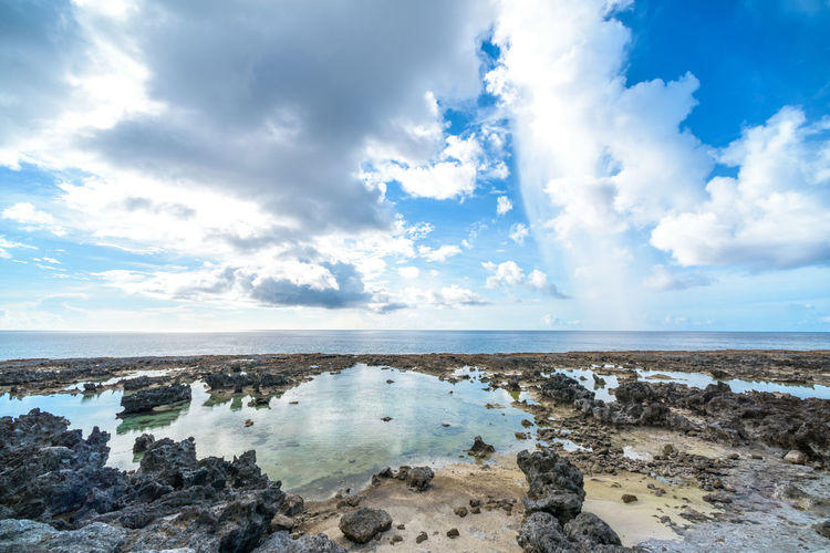 Island with natural beauty Beach Beauty In Nature Cloud - Sky Day Horizon Horizon Over Water Land Nature No People Non-urban Scene Outdoors Rock Scenics - Nature Sea Sky Solid Tranquil Scene Tranquility Water