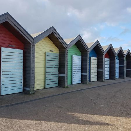 beach cabins colourful Seaside Water Blue Day Sea Happy Time Cloud Built Structure Building Exterior No People Sky