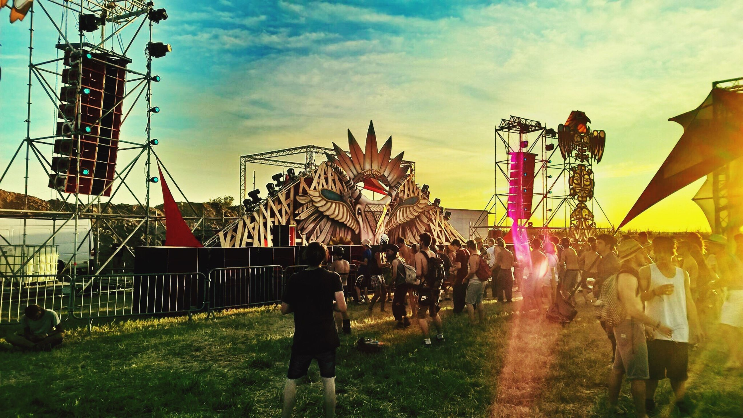 sky, full length, amusement park, cloud - sky, person, outdoors, day, cloud, traveling carnival, multi colored