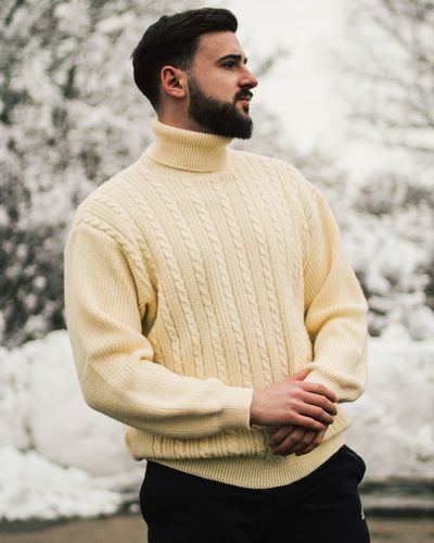Young Man Wearing Yellow Sweater During Winter