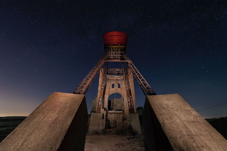 The mine Long Exposure Night Abandoned Buildings Abandoned Mine Star - Space Low Angle View Galaxy Building Exterior No People Outdoors