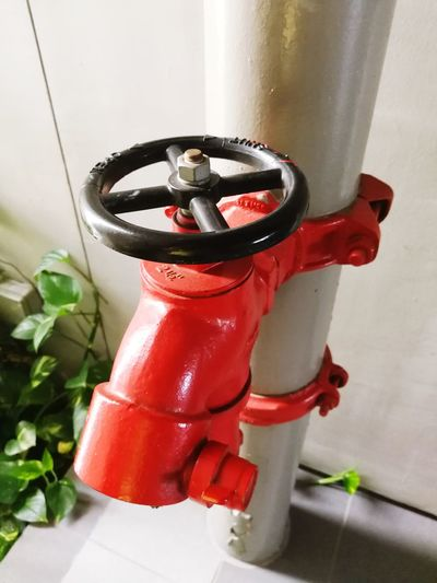 High angle view of red pipe
