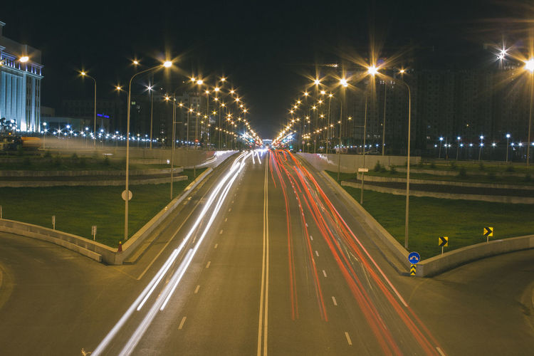 Long exposure road Astana Kazakhstan High Street Illuminated Light Trail Lighting Equipment Motion Night No People Outdoors Road Speed Street Light Timelapse Transportation