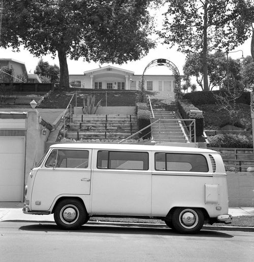 VW Bus in Echo Park Street Transportation Land Vehicle Mode Of Transport Outdoors Architecture Tree Day No People Van Volkswagen Bus California Los Angeles, California B&w Kodak Medium Format Film