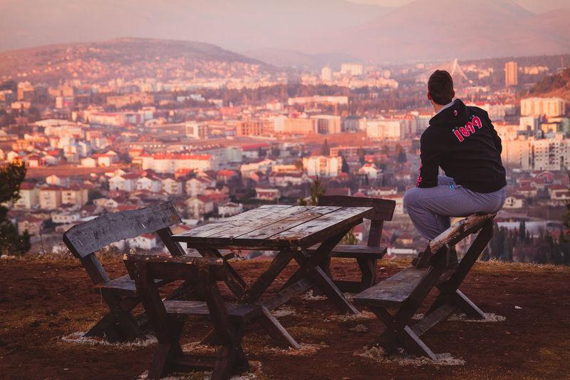 Bench Cityscape Tint Cityskyline Landscape Look People Podgorica, Montenegro